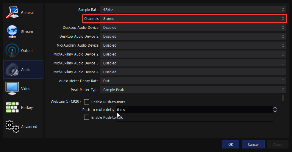 Audio Settings in OBS, Channels Highlighted to emphasize the down-mix to mono functionality.