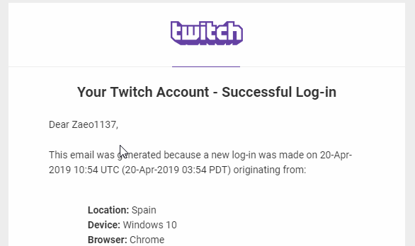 Unauthorized login from Span notification from twitch.