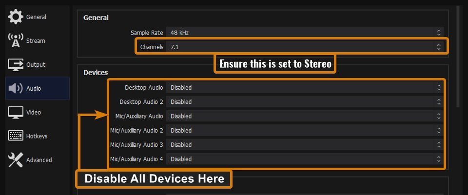 Disable all global audio devices in the settings