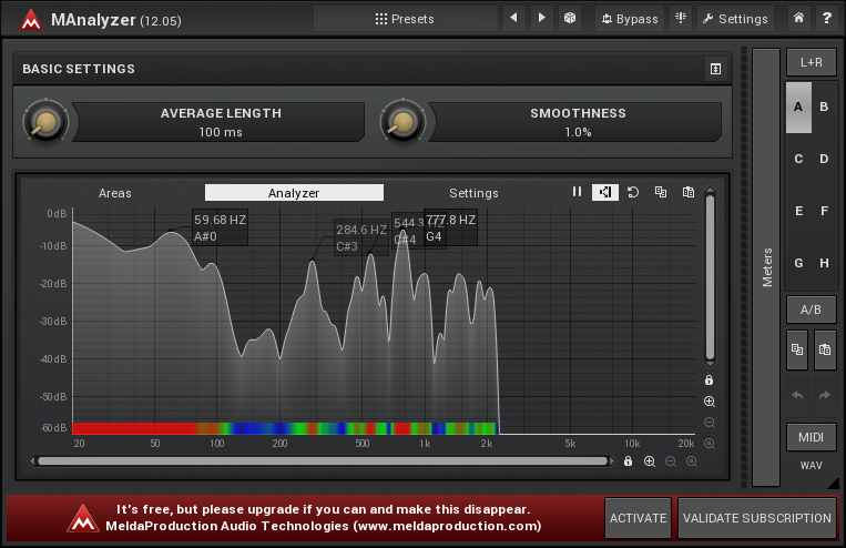 MAnalyzer, part of the free vst plugin bundle MFreeFXBundle shows the noise waveform. I've eliminated the high frequency in this example, and tuned the mid-range to allow some noise as a trade-off for audio quality.
