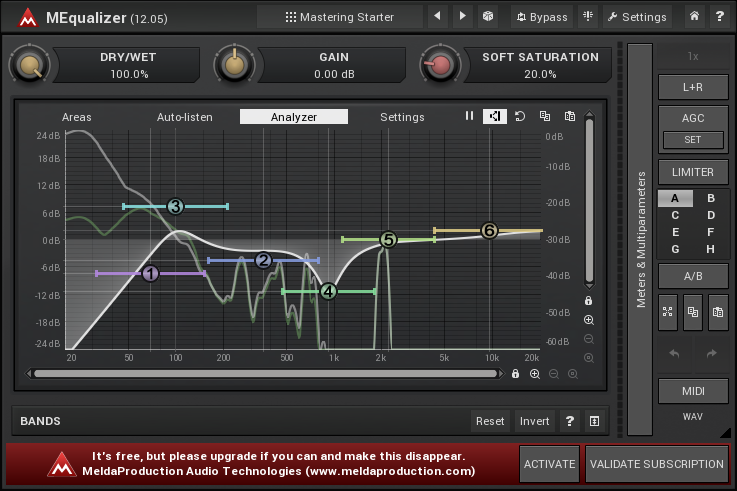 Image of the MEqualizer interface within the Free VST bundle by Melda productions