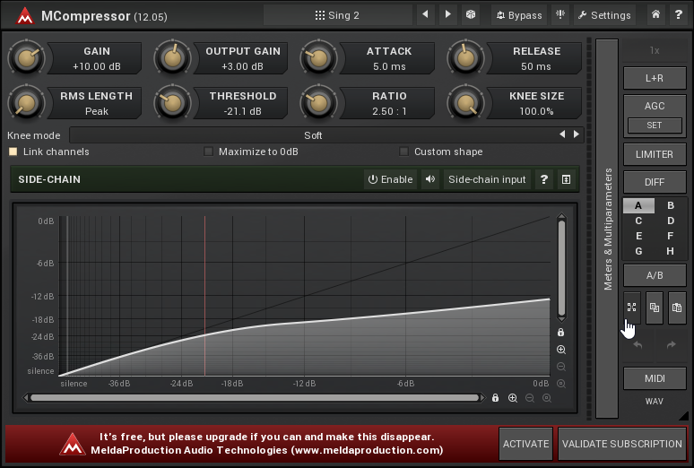One of the best free VST plug-ins, MCompressor interface