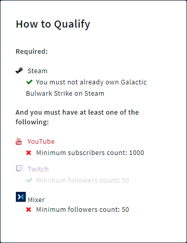 Requirements of one of the free games on woovit, Galactic Bulwark Strike, 1000 subs on YT, 50 followers on Twitch & mixer.