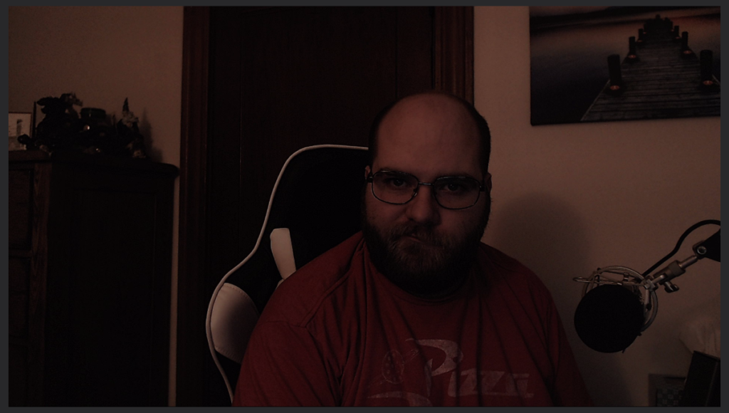 When you lack a good key light, your webcam feed looks terrible, as demonstrated in this snapshot.