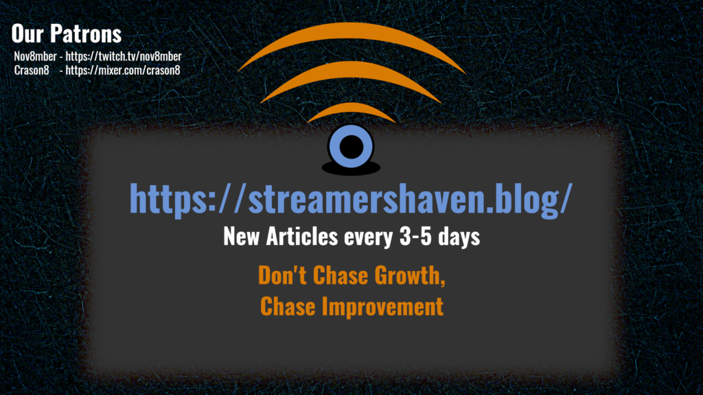 One of the best ways to grow is to form a streaming community. Advertisements can be plastered on any number of mediums, digital & Physical. This image describes my advertisement of Streamers Haven, as well as a mention of my (currently) two patron supporters, Nov8mber, and Crason8.