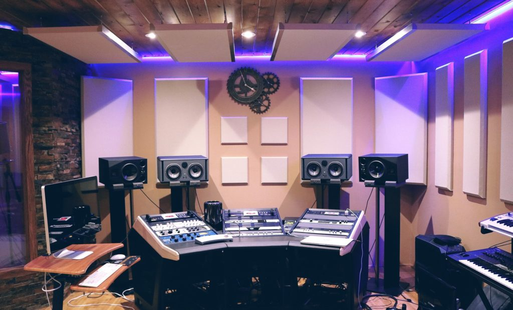 A recording studio using room acoustic treatment panels.