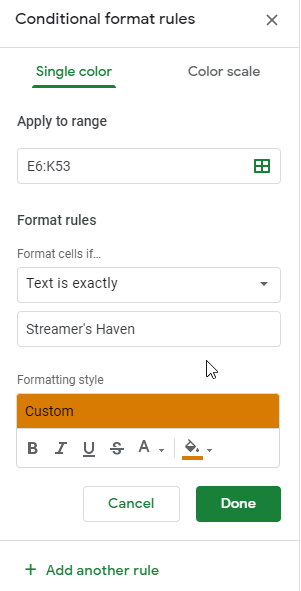 Conditional format rules for the Streamer's Haven Schedule Creator