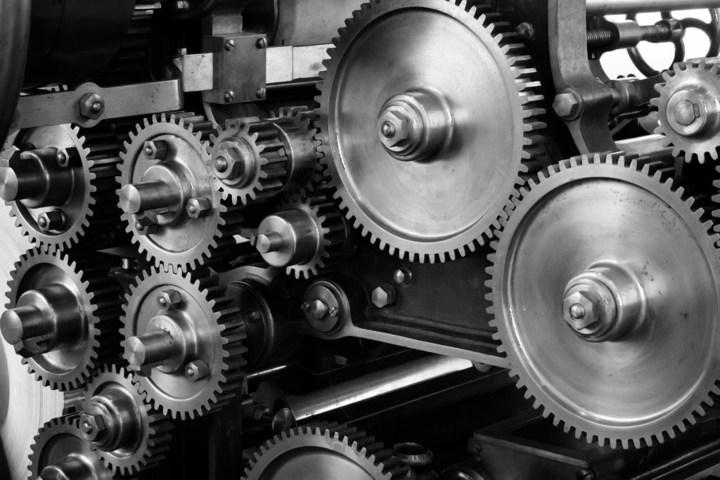 Image is of various gears interlocked in a transmission.  Symbolic of mixer tools improving your stream.