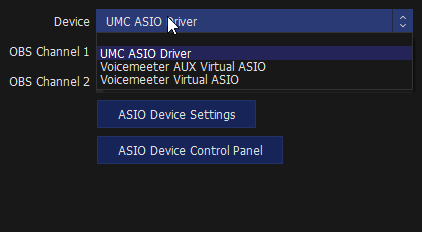 ASIO for OBS Device selector includes virtual ASIO Devices from DAWs like Reaper or other software.