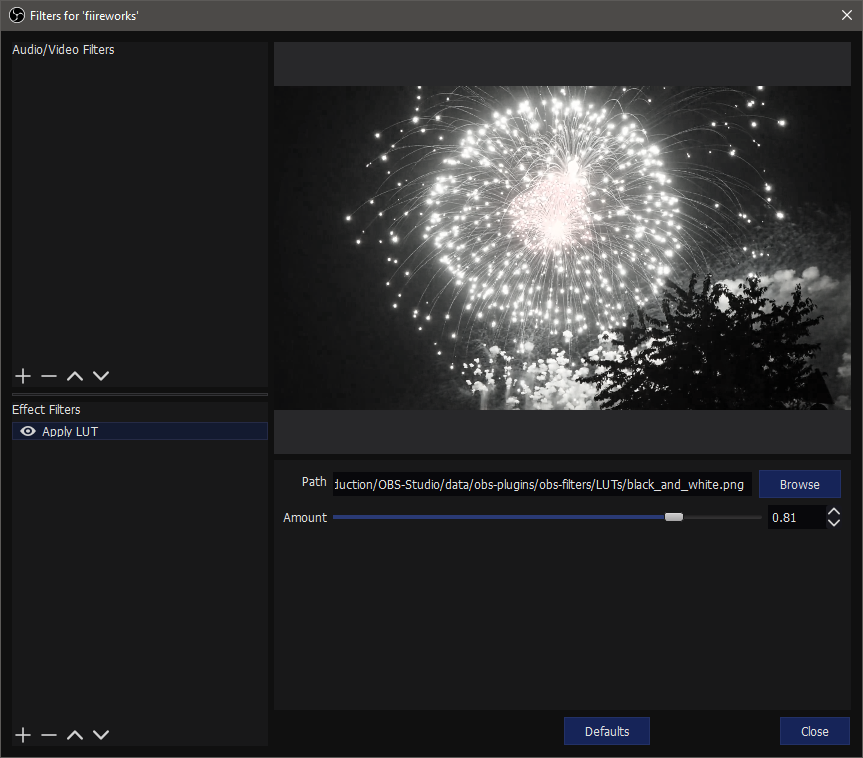 Strong desaturation of the fireworks using the black and white LUT.