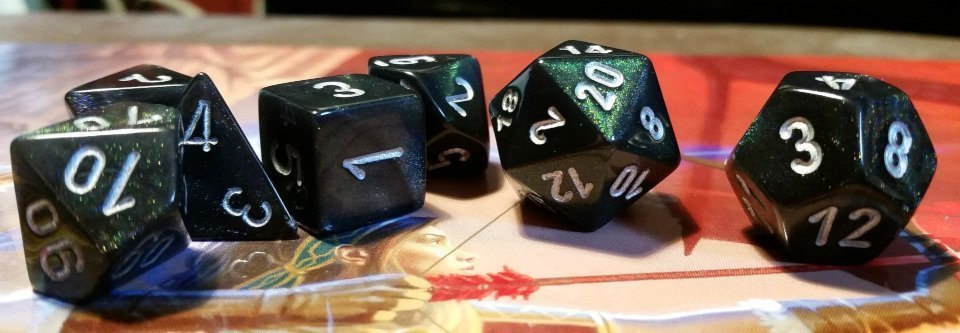 Green Sparkly DND Dice.