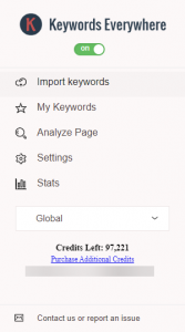 """A preview of the extension """"Keywords Everywhere"""""""