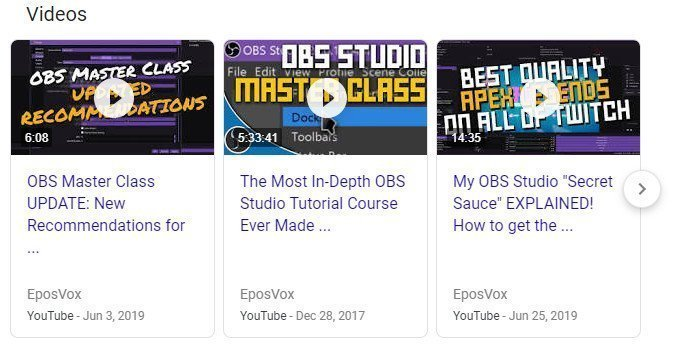 """Results when you search up """"EposVox"""" on Google."""