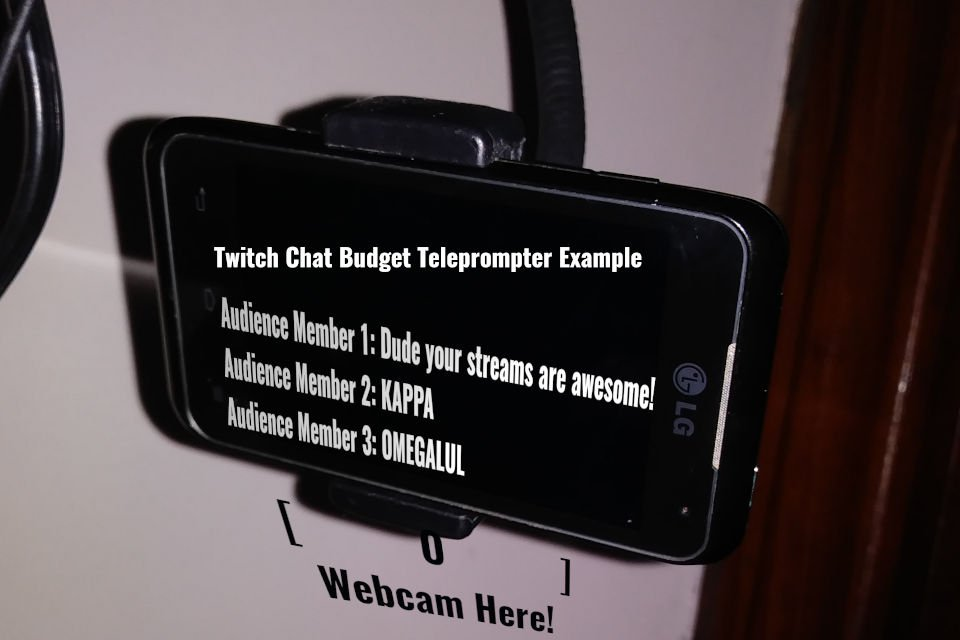 Budget Teleprompter options include cellphones mounted on a goosneck