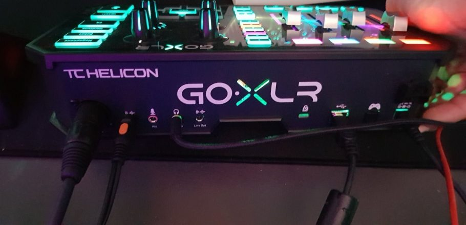 Back of the GoXLR, This is an Audio Mixer for Streamers