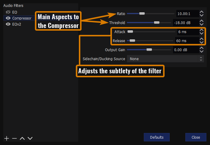 Showing the components of the OBS compressor filter
