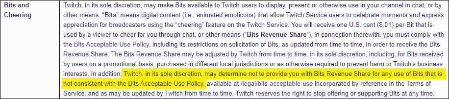 Twitch can withhold bits for any reason.