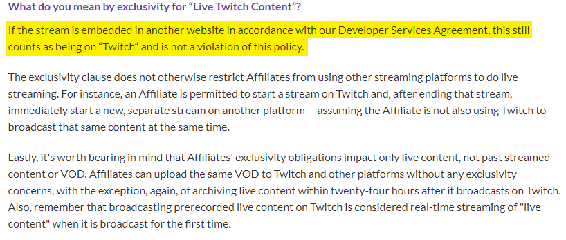 Some leeway on the agreement on Twitch.