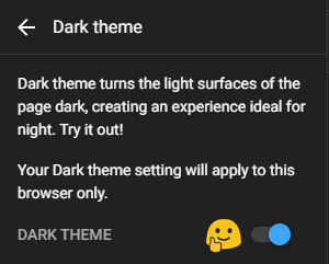 Toggle button for Dark Mode On YouTube