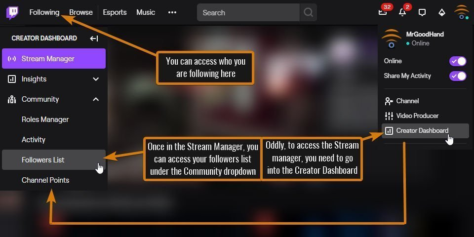 Pic illustrating how to get to the followers list. This is how to see who follows you on Twitch in 2020.