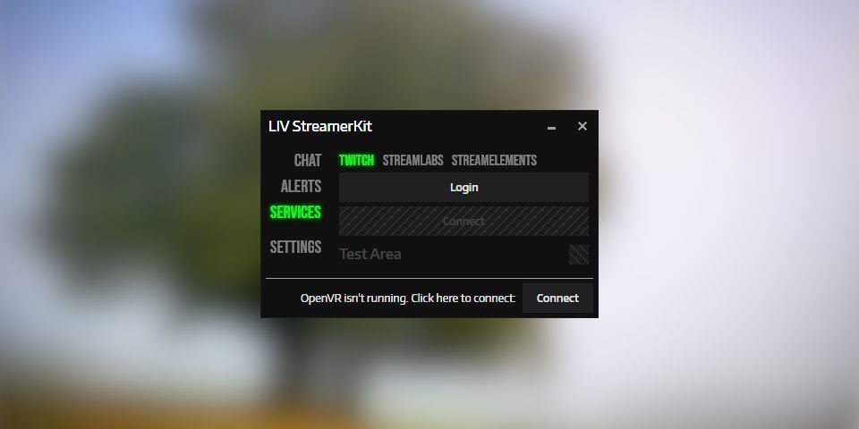 The LIV Login connections window to enable Twitch chat in VR