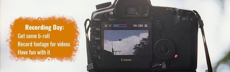 Step two of the three-day content strategy - Recording - Start recording footage and b-roll. Have fun with it.  Picture of camera getting b-roll of powerlines.