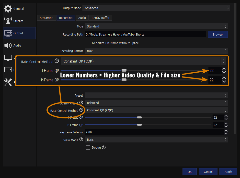 CQP and CRF Explained as one of the Best OBS settings for recording