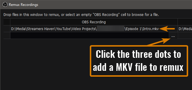 Select MKV to Remux to MP4