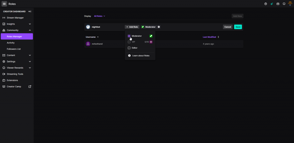 How to Add a Moderator on Twitch using the Roles Manager within the Creator Dashboard.