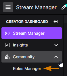 Access the Roles Manager within the Creator Dashboard