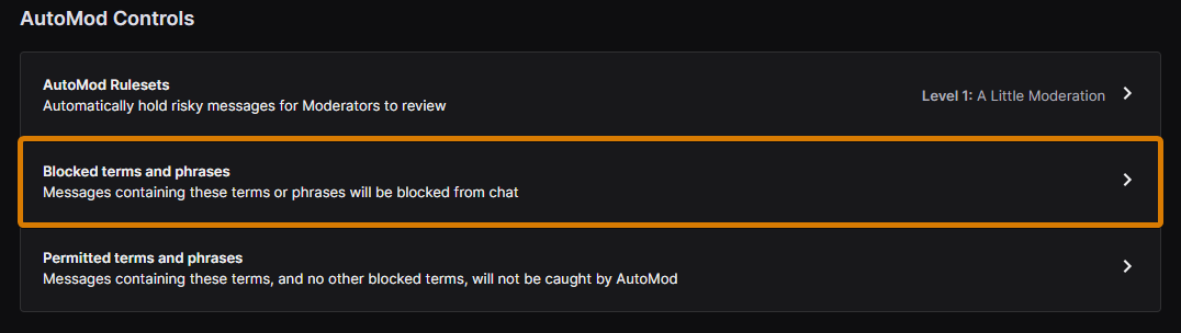 blocked terms and phrases twitch automod feature