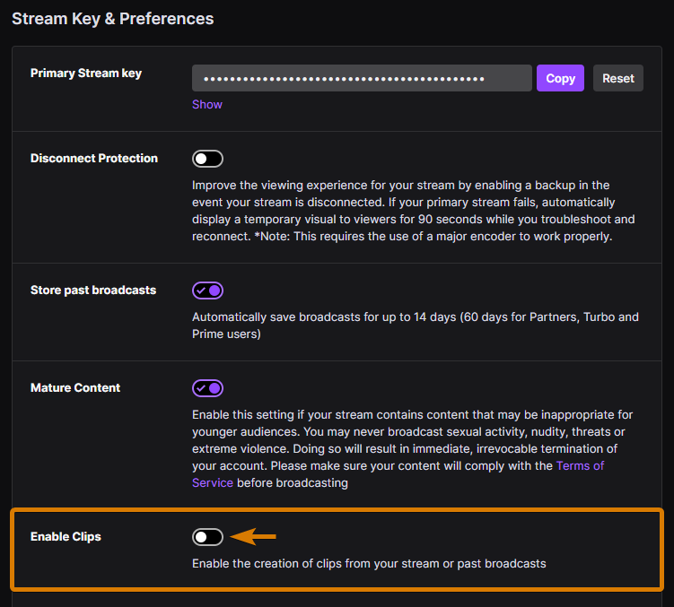 How to Enable Clips on Twitch to store small sections of your past broadcasts.