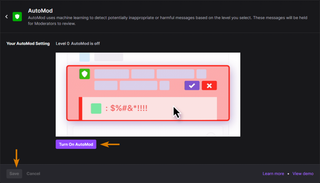 How to Enable the Twitch Automod feature