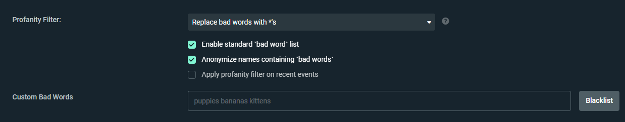 Streamlabs Alerts profanity Filter to Compliment Twitch Automod