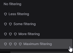 Twitch Automod filtering levels