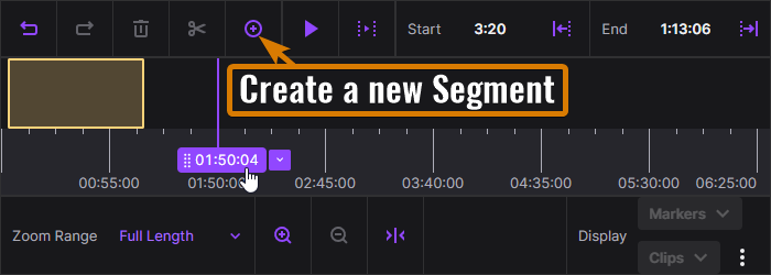 Click the + to add a new segment to the Twitch Highlight editor