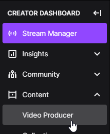 Access the Video Producer on Twitch in the creator Dashboard - Twitch Highlights can be made from here.