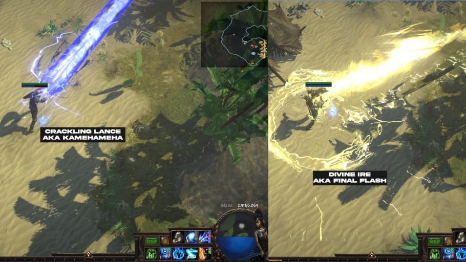 Showing the similarities two skills share with Dragonball Z moves. Divine Ire - Final Flash  Crackling Lance - Kamehameha  Part of the Path of Exile Review