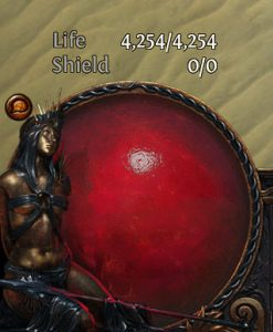 Showing the Life Globe in Path of Exile with the Agnostic applied.