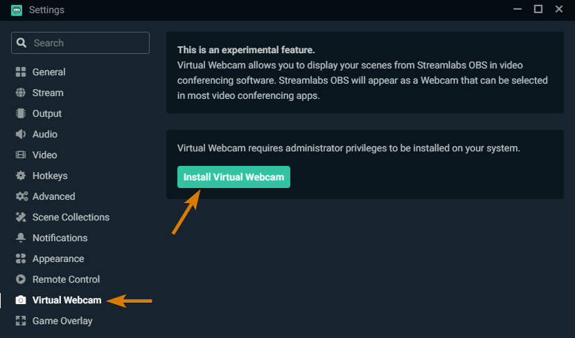 How to Enable the OBS Virtual Camera in Streamlabs OBS