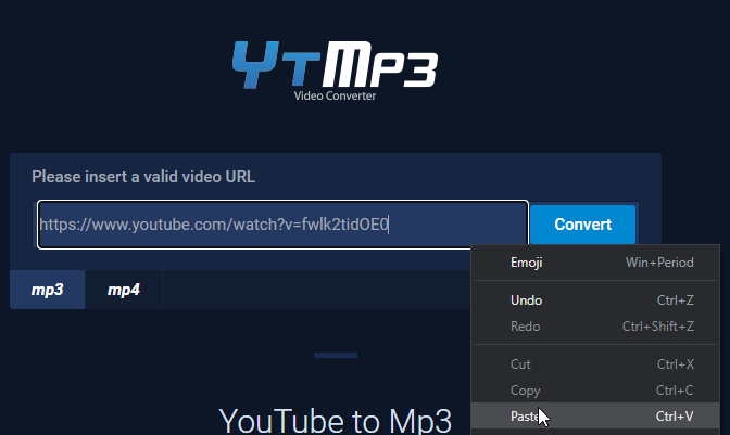 YouTube to mp3 Online Video converter Preview - Paste the url into the field