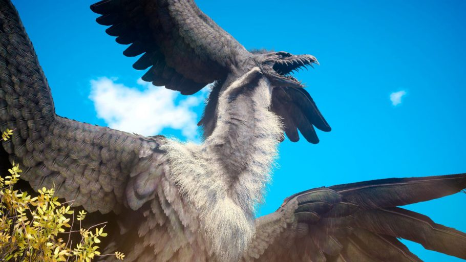 Grey and black plumed fantasy bird creature from Final Fantasy 15