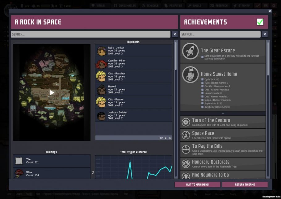 Oxygen Not Included Achievements List