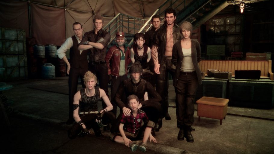 A group photo of many characters important to the story within Final Fantasy 15