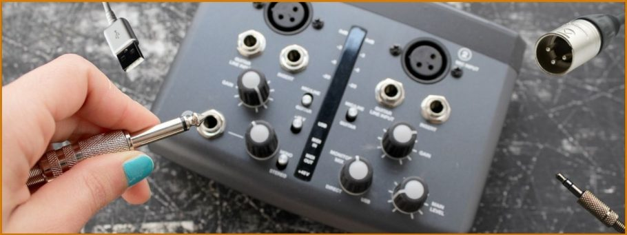 Inputs of an Audio Interface - XLR Connector, TRS Connector, USB, Stereo Jack, *Not Pictured* Midi