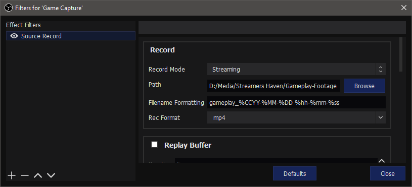 OBS Record without Overlays Source Record Interface
