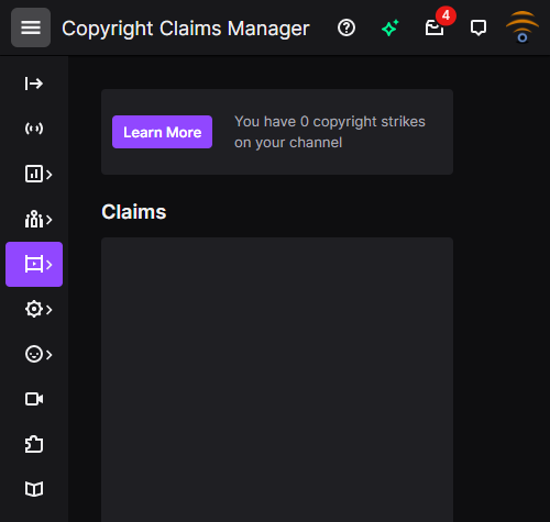 Copyright strikes manager Twitch
