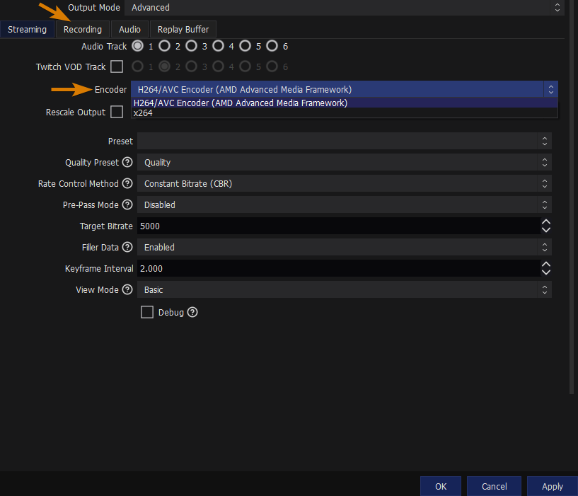 OBS Encoder Select