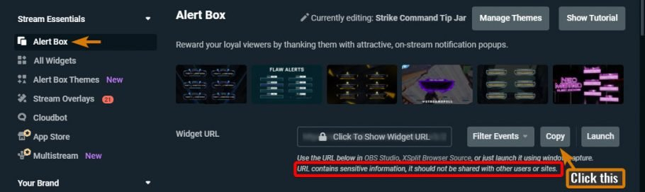 How to add alerts to OBS in Streamlabs