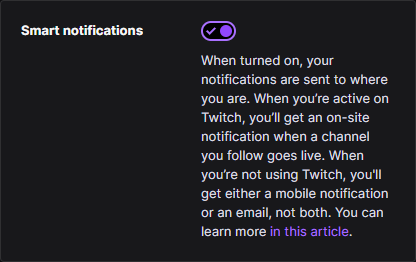 Fix Twitch notifications by disabling Twitch Smart Notifications feature